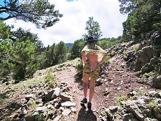 On mountain trail