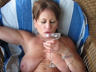 Mature women and glasses of wine