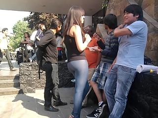 Girl in tight leggings jeans