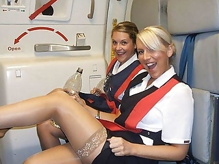 Air hostesses in sexy poses