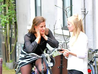 Sexy girls on bike