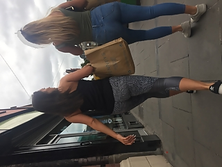 Two teens candid asses