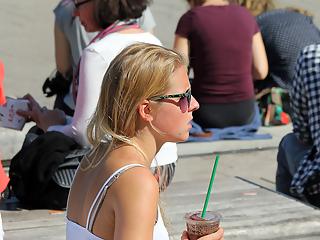 Beautiful blonde in short