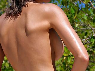 Big tits gal outdoor pics
