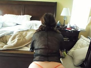 Milf with fat shaved pussy in orange lingerie