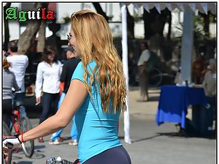 Sexy big ass on bike
