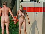 Mom and Blonde Daughter Caught Nude
