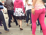 Sexy ass in pink tight jeans