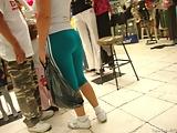 Hot girl in blue sport leggins
