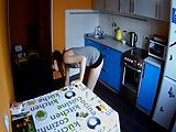 Hot girl spied in kitchen