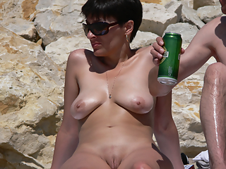 Milf naked at beach dressing