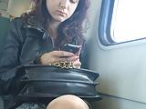Pantyhose train voyeur