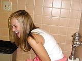 Panties down in toilet