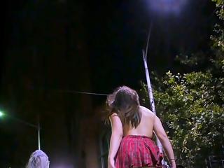 Tiny skirt girl in the night