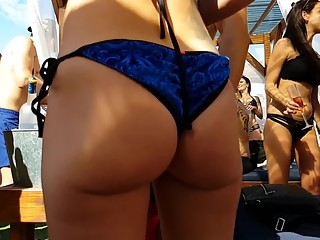 Sexy babe in blue bikini sexy ass