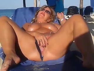 Slutty wife beach masturbation