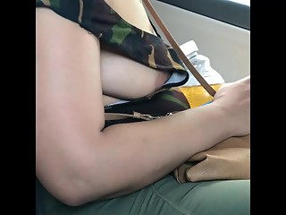 Wife side boob in taxi