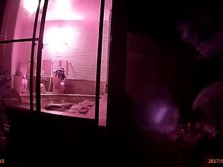 Public shower room window spy