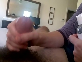 Wife gives her man an handjob