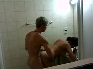 Teen couple fucking in bathroom