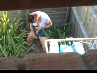 Masturbation in the backyard