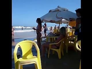 Two girls in bikini at beach