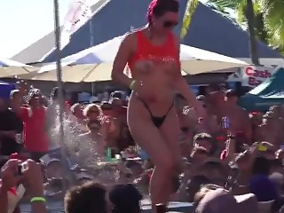 Public pole dancing exposed tits and ass