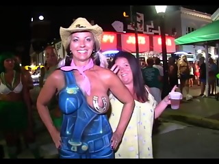 Hot babes flashing breasts in public