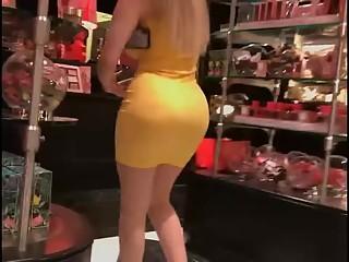 Big ass latin in yellow dress