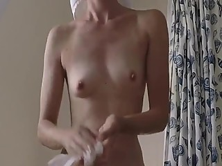 Small boobs milf after shower