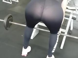 Bent over transparent sports pants