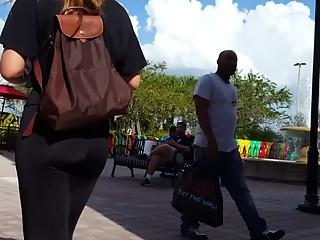 Teen in leggings walking