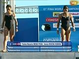 Yaima Rosario and Mena Pena diving slip
