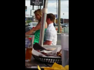 Cock riding in restaurant