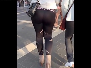Ass and thong in see through leggings