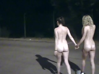 Two girls naked dare in the street