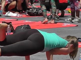 Yoga group class outdoors