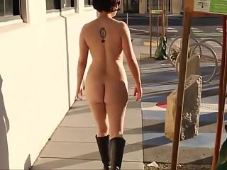 Women walking naked in the street