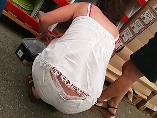 White thong at supermarket