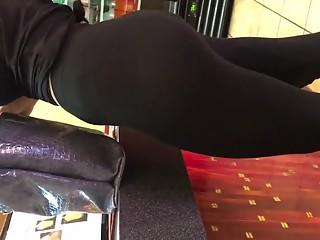 Busty latin brunette in leggings