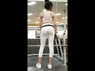 White leggings girl exercising in gym