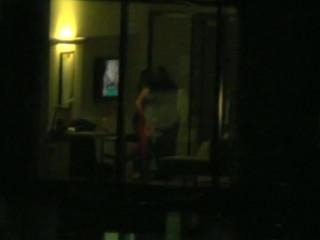 Horny couple hotel window spy