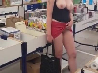 Flashing pussy and tits