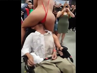 Dude in wheelchair eats pussy