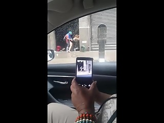 Couple fucking in public street