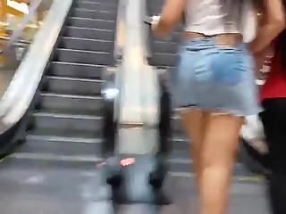Shopping escalator jeans skirt