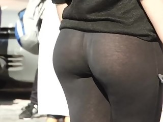 Sexy ass in transparent leggings