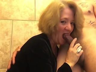Granny sucks dick in bathroom