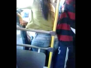 Groping hot round ass in metro
