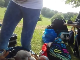 Down blouse in the park